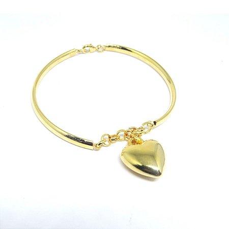Pulseira coração folheado em ouro 18k