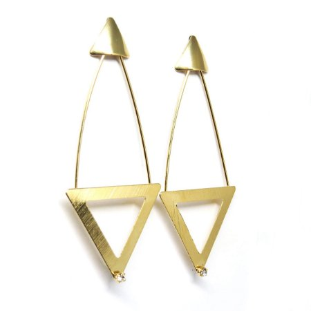 Brinco geométrico triangular ponto de luz folheado em ouro 18k