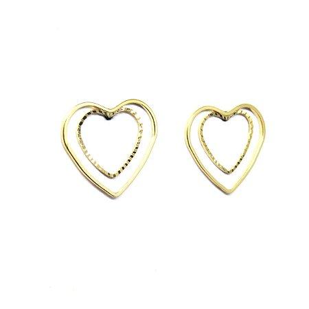 Brinco duplo coração folheado em ouro 18k