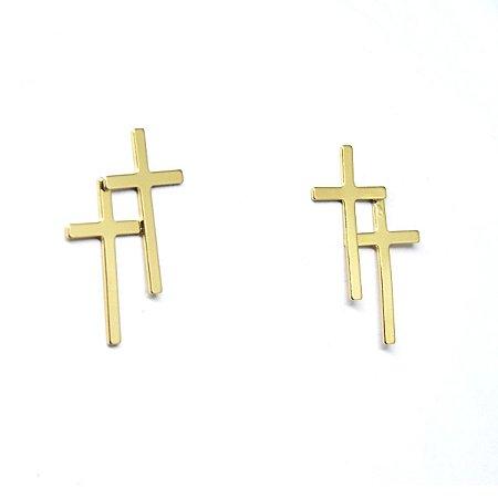 Brinco pequeno cruz dupla folheada em ouro 18k