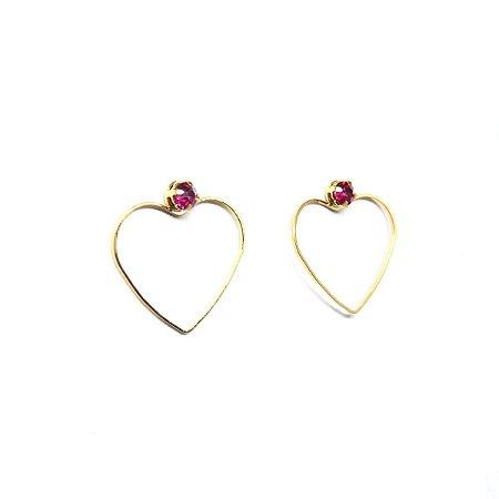 Brinco coração ponto de luz rosa folheado em ouro 18k