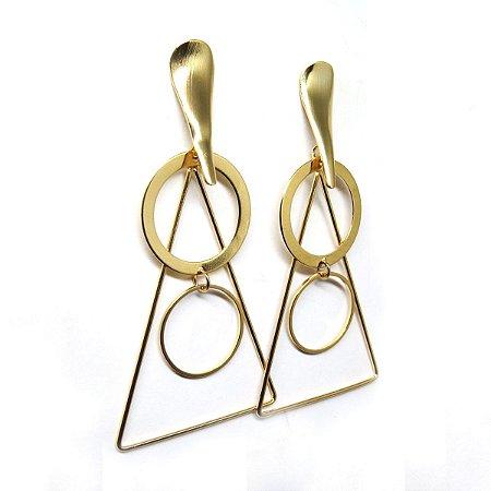 Brinco geométrico triangular folheado em ouro 18k