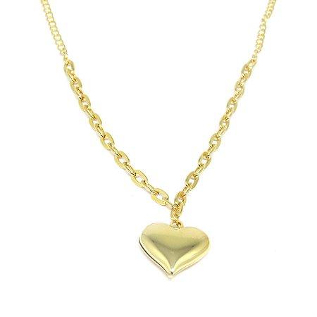 Gargantilha coração folheado em ouro 18k