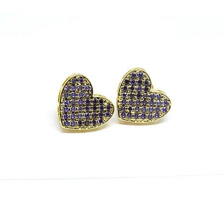 Brinco coração zirconia roxa folheado em ouro 18k