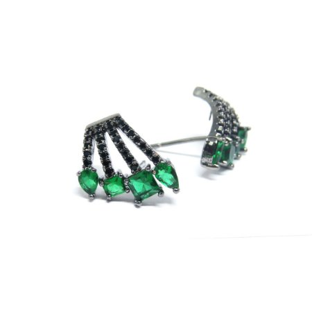 Brinco pequeno ródio negro pedra verde