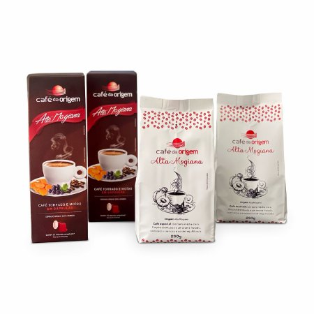 Kit Café da Origem 2 pcts Alta Mogiana 250g + 2 cxs cápsulas Alta Mogiana