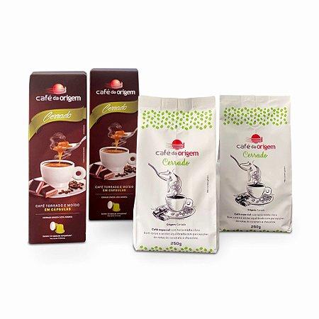 Kit Café da Origem 2 pcts Cerrado 250g + 2 cxs cápsulas Cerrado
