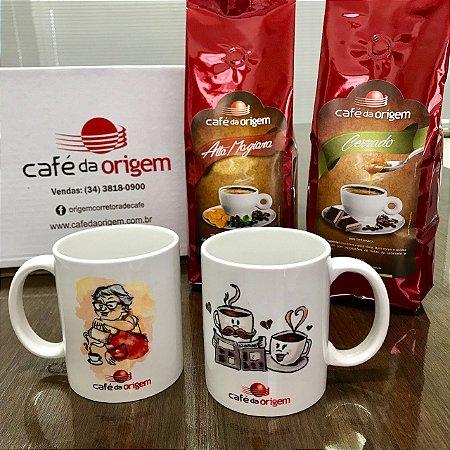 Kit 2 Canecas + 1 kg Café da Origem Especial