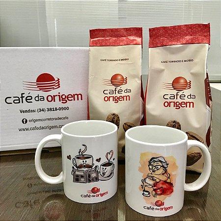 Kit 2 Canecas + 1 kg Café da Origem Tradicional