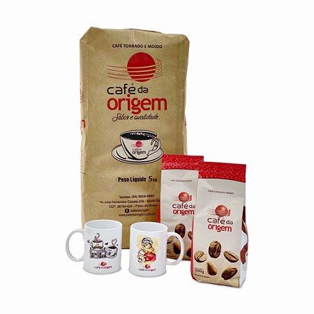 Kit 5 kg Café da Origem Tradicional + 1 caneca vovó + 1 caneca xícara