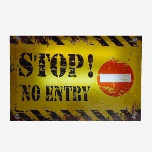 Quadro Stop No Entry com LED