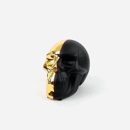 Caveira Decorativa Metade Dourada