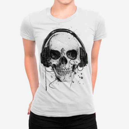 Camiseta Feminina Skull Headphone