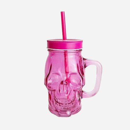 Copo Milk Shake Skull Rosa