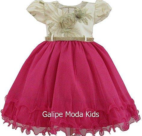 6a412e35f83 Vestido Infantil de festa Pink com Creme - Galipe Moda Kids ...