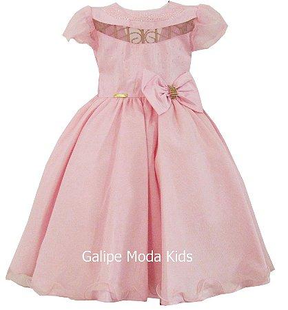1d954f4afc5 Vestido Infantil Rosa Laços - Galipe Moda Kids - Vestido para Princesas