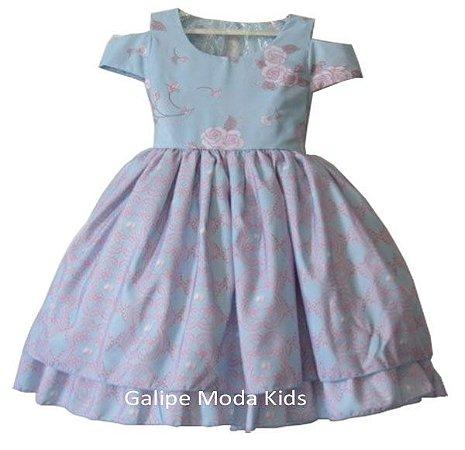 543488eacf8 Vestido Infantil Azul e Rosa - Galipe Moda Kids - Vestido para Princesas