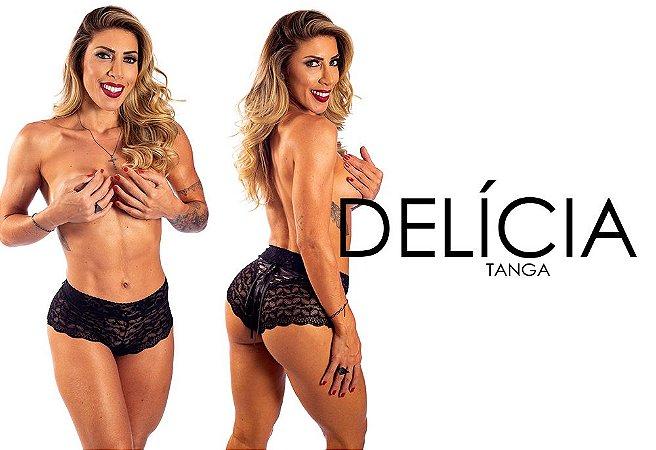 Tanga Delicia -Preta - Tam Único - Hot Flowers