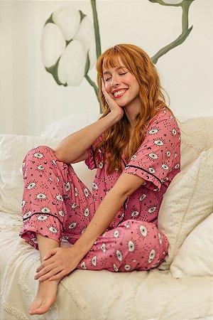 Pijama Longo Estampado Olho Grego