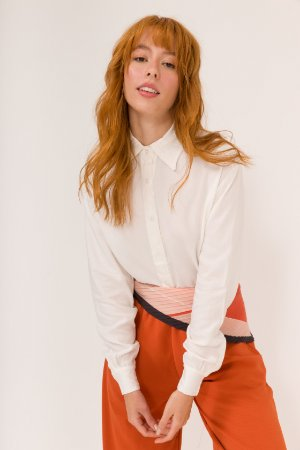 KIT Calça Pantalona Terracota Nina + Lenço Plissado de Listras