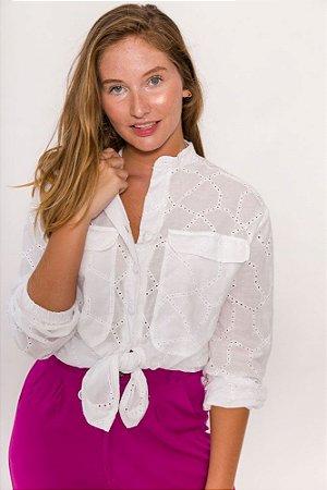 KIT Calça de Alfaiataria Lana Fúcsia + Camisa de Laise Branca