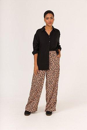 KIT Camisa Preta Boy + Calça Pantalona Onça Nina