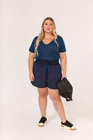 Camiseta Gola V Azul Marinho Mona