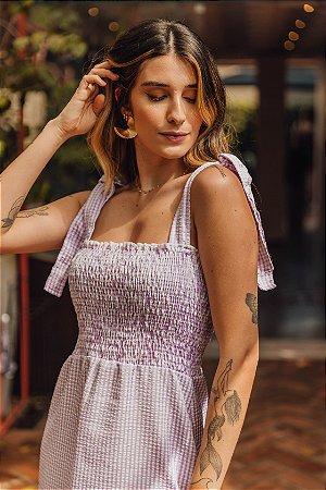 Vestido Midi Lastex Eva Xadrez Lilás