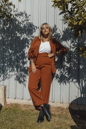 Calça Amber Pantacourt Alfaiataria Terracota