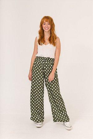 Calça Pantalona Poá Verde Nina