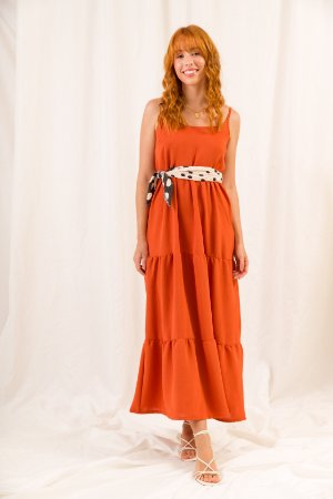 Vestido Midi Terracota Julie