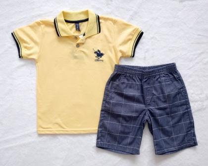 Conjunto camiseta polo amarela e bermuda xadrez - Nináh Kids 00fcd7e106aba