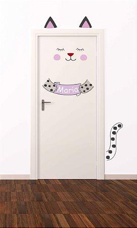 Adesivo de porta infantil-Gatinho