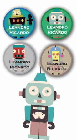 Etiquetas Personalizadas para utensílios 40 unidades - Robôs