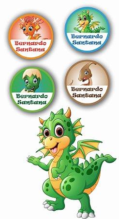 Etiquetas Personalizadas para utensílios 40 unidades - Dinossauro