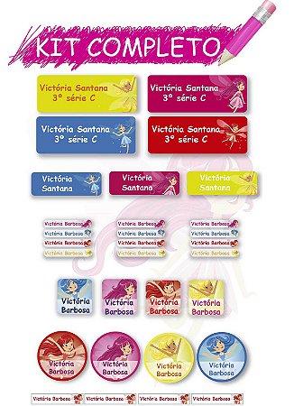 Etiquetas escolares Kit Completo - Fadinhas 202 etiquetas