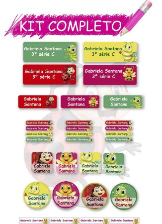 Etiquetas escolares Kit Completo - Amiguinhas 202 etiquetas