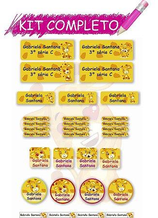 Etiquetas escolares Kit Completo - Girafinhas 202 etiquetas