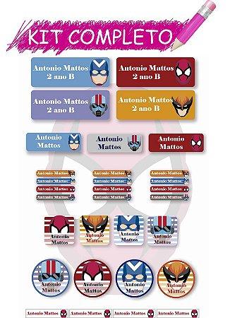 Etiquetas escolares Kit Completo - Super Heróis 202 etiquetas