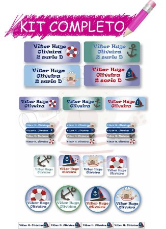 Etiquetas escolares Kit Completo - Marinheiro 202 etiquetas
