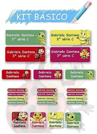 Etiquetas escolares personalizadas Kit Básico - Amiguinhas 118 etiquetas