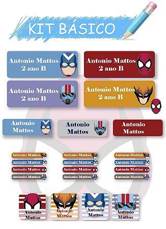 Etiquetas escolares personalizadas Kit Básico Super Heróis-  118 etiquetas