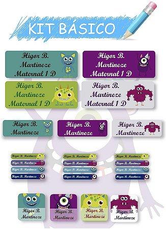 Etiquetas escolares personalizadas Kit Básico Monstros - 118 etiquetas