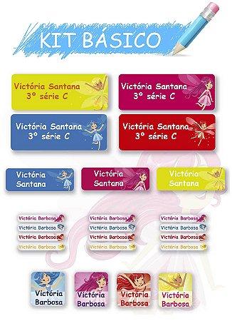 Etiquetas escolares personalizadas Kit Básico Fadinhas - 118 etiquetas