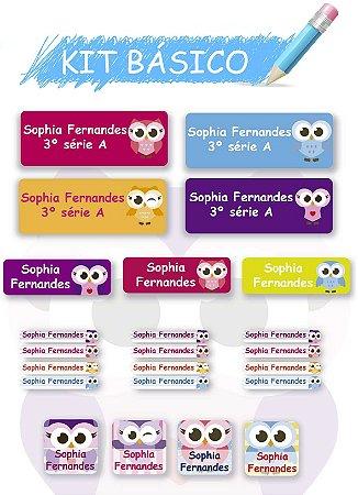 Etiquetas escolares personalizadas Kit Básico Corujinhas - 118 etiquetas