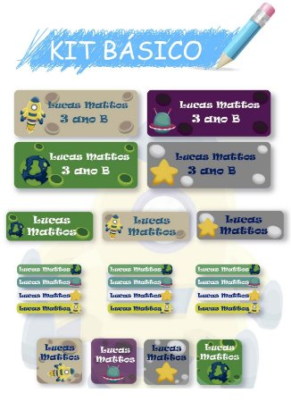Etiquetas escolares personalizadas Kit Básico Planetas - 118 etiquetas