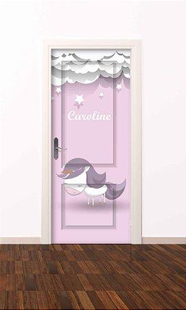 Adesivo de porta infantil-Unicórnio Nuvem