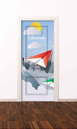 Adesivo de porta infantil-Avião de Papel