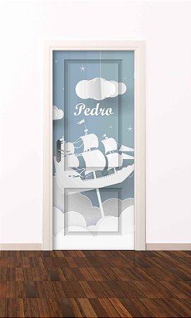 Adesivo de porta infantil-Navio