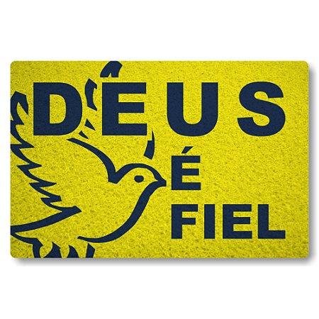 Tapete Capacho Deus é Fiel - Amarelo
